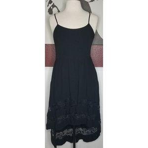 High low black rayon & lace trim summer dress